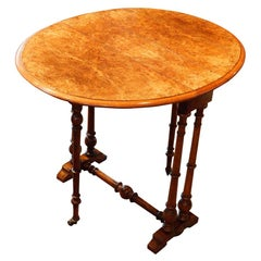 Victorian Burr Walnut Small Sutherland Table