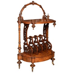 Victorian Burr Walnut Veneered Canterbury