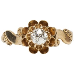 Victorian Buttercup Style 0.36 Carat Old European Cut Solitaire Diamond Ring