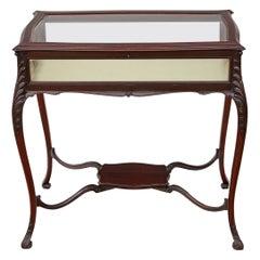 Victorian circa 1890 Mahogany Bijouterie Display Cabinet Table