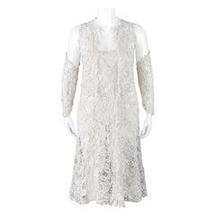 VICTORIAN c.1900s OOAK White Gros Point De Venise Lace 4 Pc Skirt Top Sleeve Set