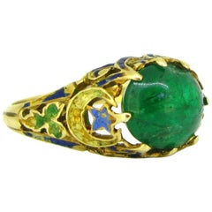 Victorian Cabochon Cut Emerald Enamel Yellow Gold Ring