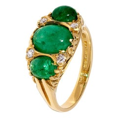 Victorian Cabochon Emerald Ring with Diamond Detail