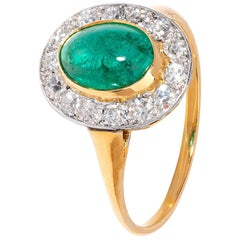 Victorian Cabochon Emerald Ring with Striking White Diamond Surround