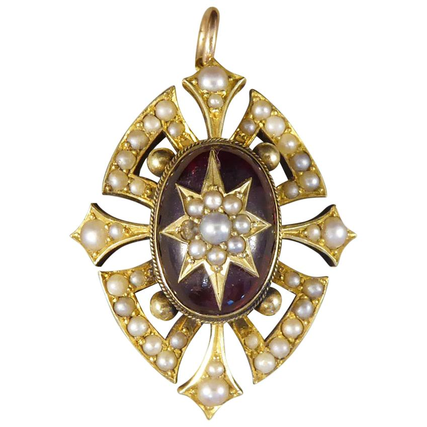 Victorian Cabochon Garnet and Seed Pearl Pendant in 15 Carat Yellow Gold