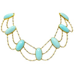 Victorian Cabochon Turquoise Pearl 14 Karat Gold Swag Necklace