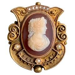 Victorian Cameo 14 Karat Pendant / Brooch