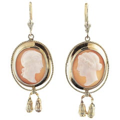 Victorian Cameo Gold Pendent Earrings