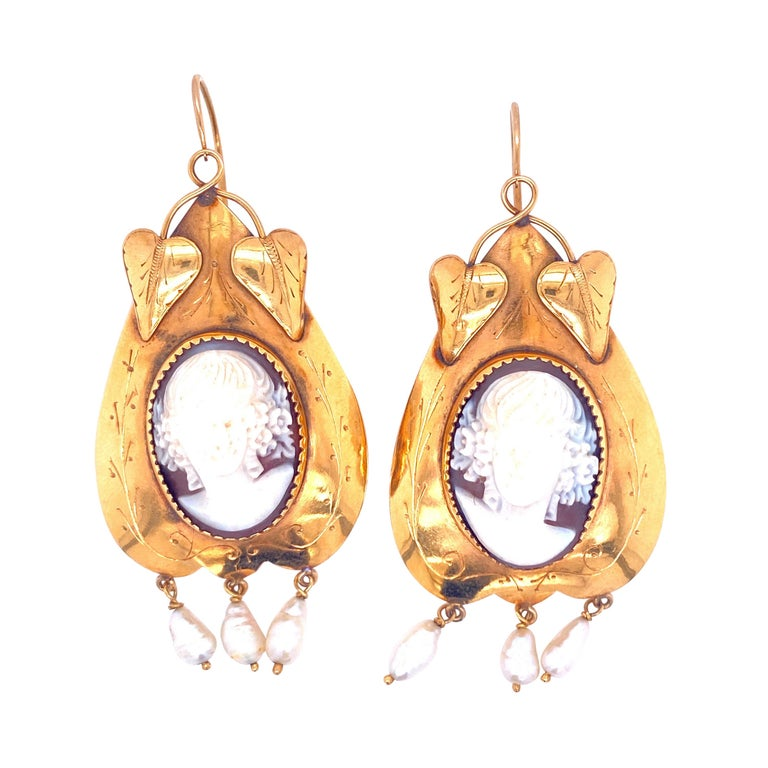 Victorian Cameo Pearls Gold Earrings For Sale