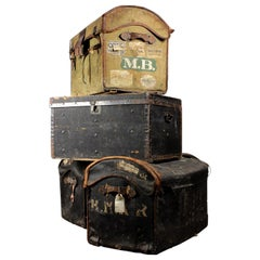 Victorian Canvas and Leather Dome Top Trunks, 20th Century