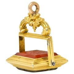 Victorian Carnelian 14 Karat Tri-Color Gold Bountiful Still Life Pendant Fob