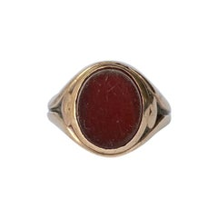 Victorian Carnelian and 9 Carat Gold Signet Ring
