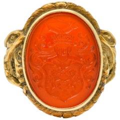 Victorian Carnelian Intaglio 14 Karat Gold Heraldry Men's Dragon Signet Ring