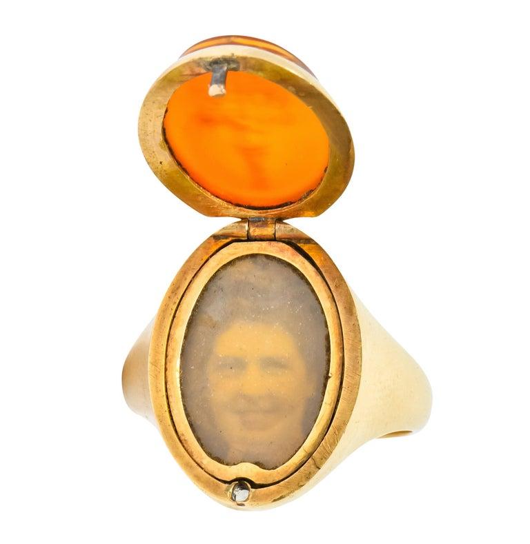 Victorian Carnelian Intaglio 14 Karat Gold Unisex Locket Ring For Sale 6