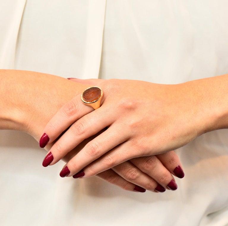 Victorian Carnelian Intaglio 14 Karat Gold Unisex Locket Ring For Sale 7