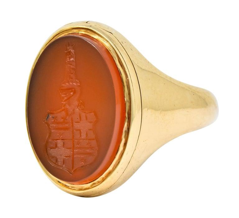 Women's or Men's Victorian Carnelian Intaglio 14 Karat Gold Unisex Locket Ring For Sale
