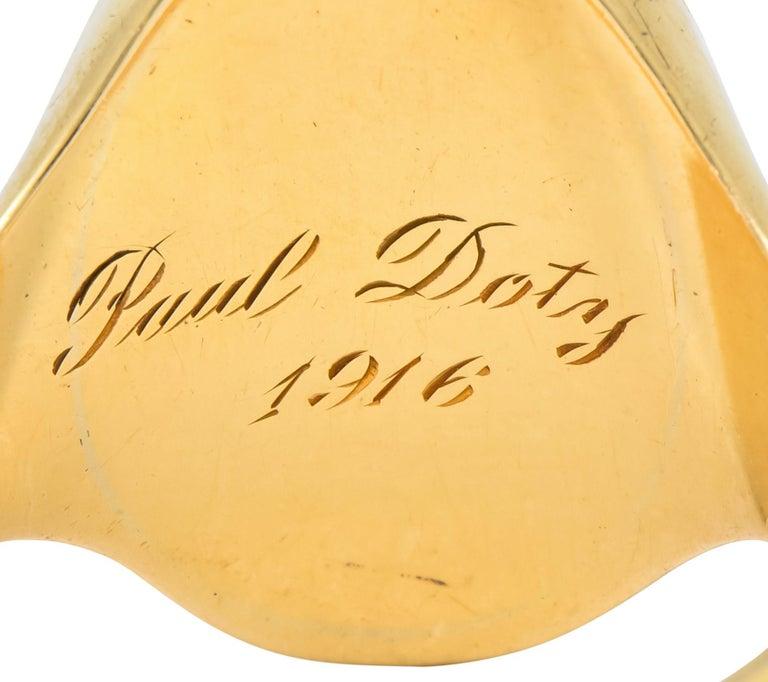 Victorian Carnelian Intaglio 14 Karat Gold Unisex Locket Ring For Sale 2