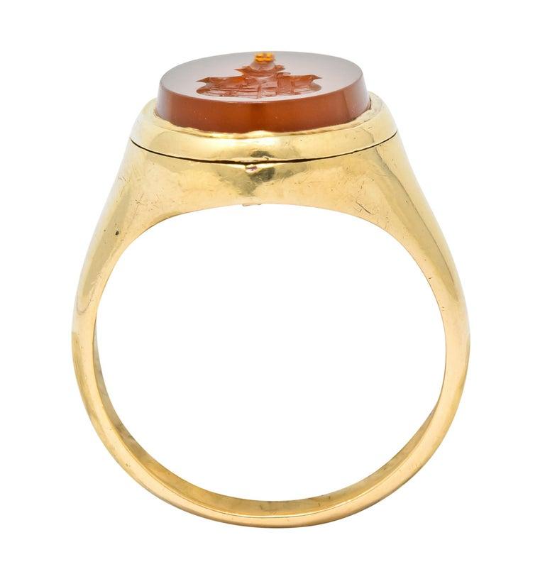 Victorian Carnelian Intaglio 14 Karat Gold Unisex Locket Ring For Sale 3