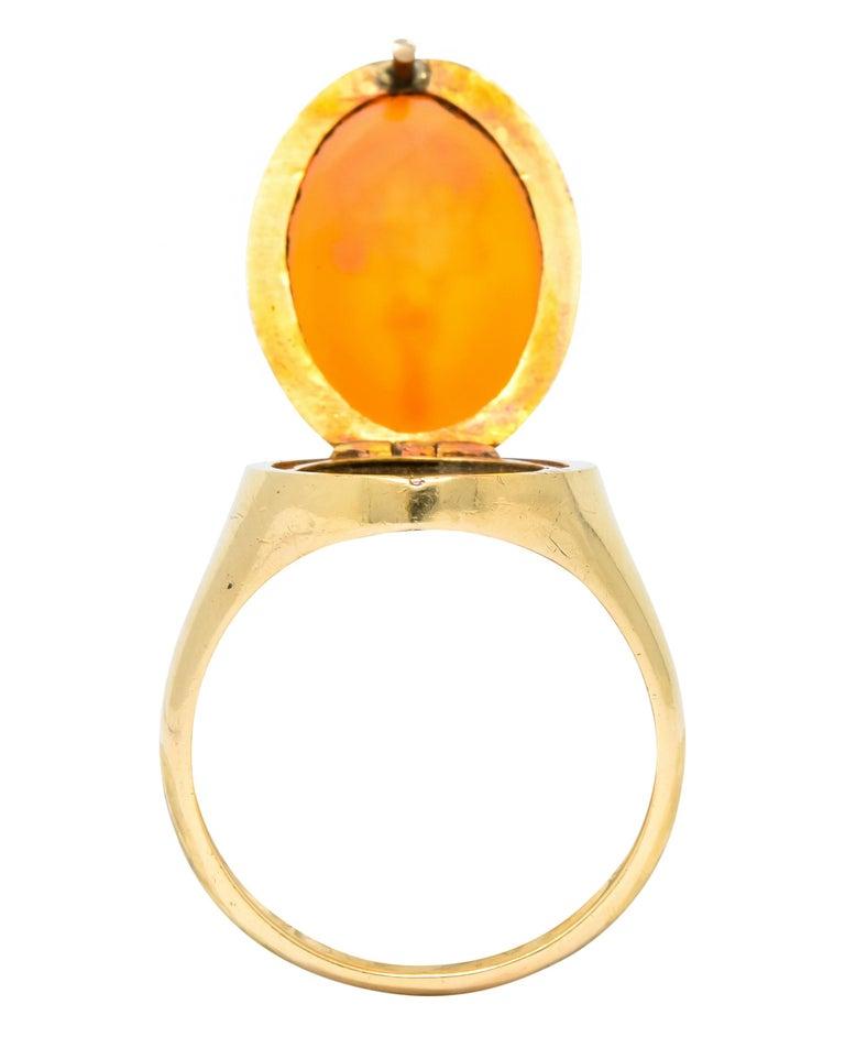 Victorian Carnelian Intaglio 14 Karat Gold Unisex Locket Ring For Sale 4