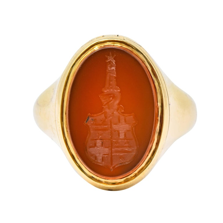 Victorian Carnelian Intaglio 14 Karat Gold Unisex Locket Ring For Sale