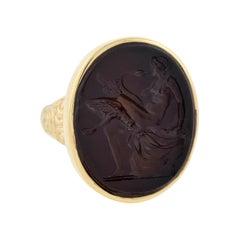 "Victorian Carnelian ""Leda and the Swan"" Intaglio Signet Ring"