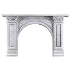 Victorian Carrara Marble Arched Fireplace