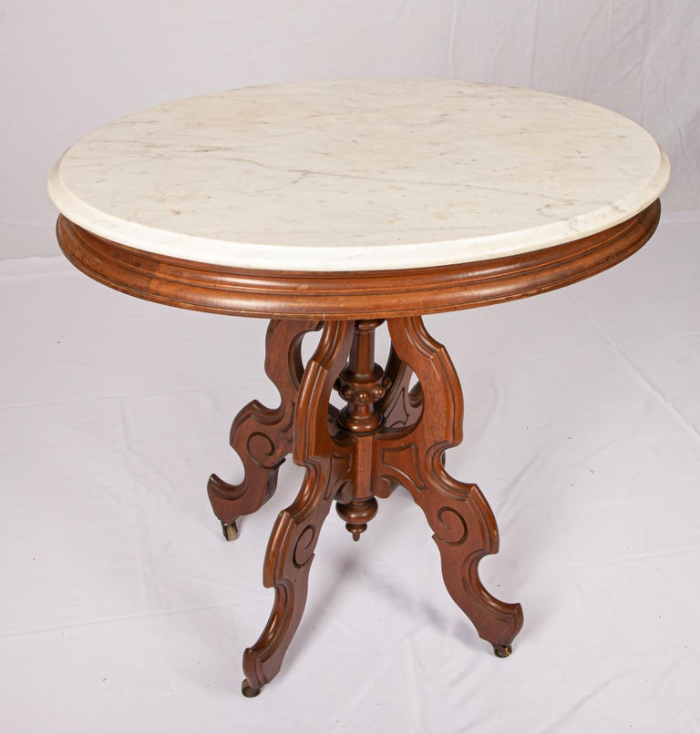 American Victorian Carrera Marble-Top Parlor Table For Sale