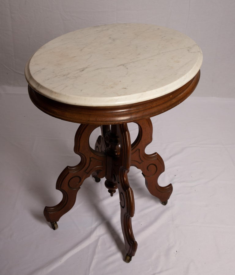 Carrara Marble Victorian Carrera Marble-Top Parlor Table For Sale