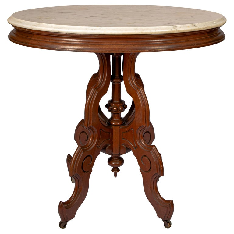 Victorian Carrera Marble-Top Parlor Table For Sale