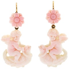 Victorian Carved Angel Skin Coral Cupid Ear Pendants