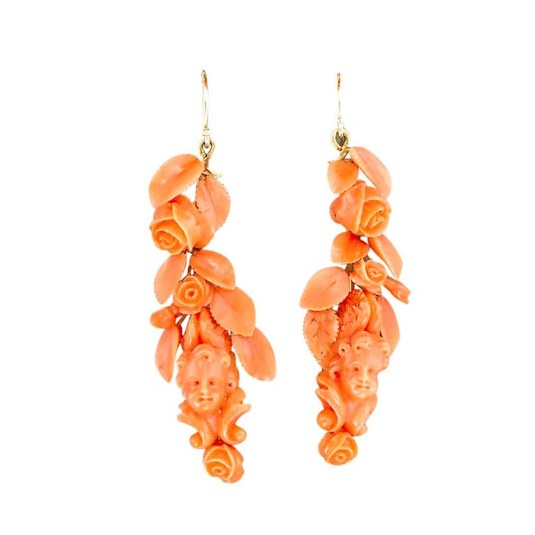Victorian Carved Coral Brooch Drop Earring Set For Sale 1