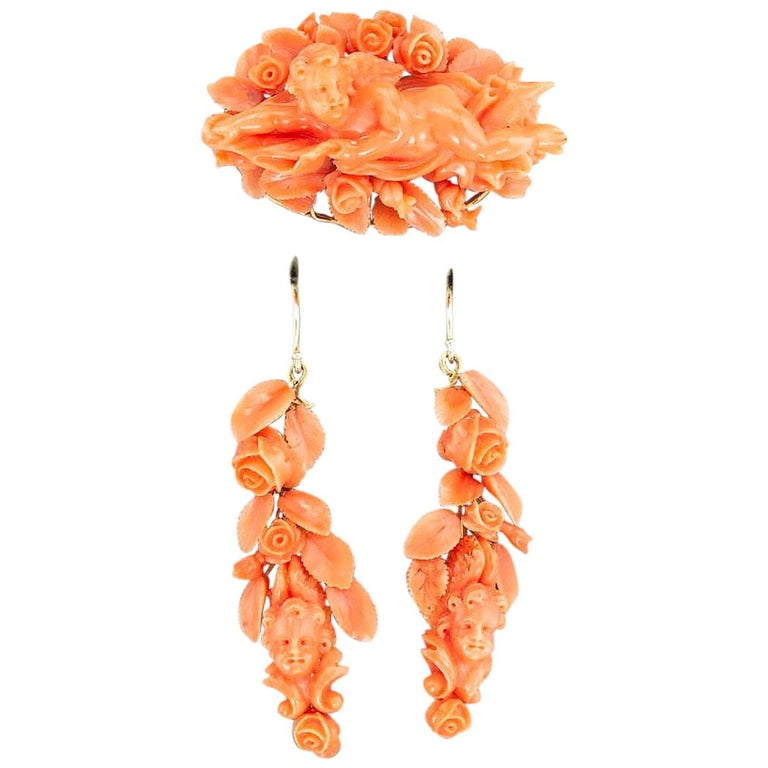 Victorian Carved Coral Brooch Drop Earring Set For Sale
