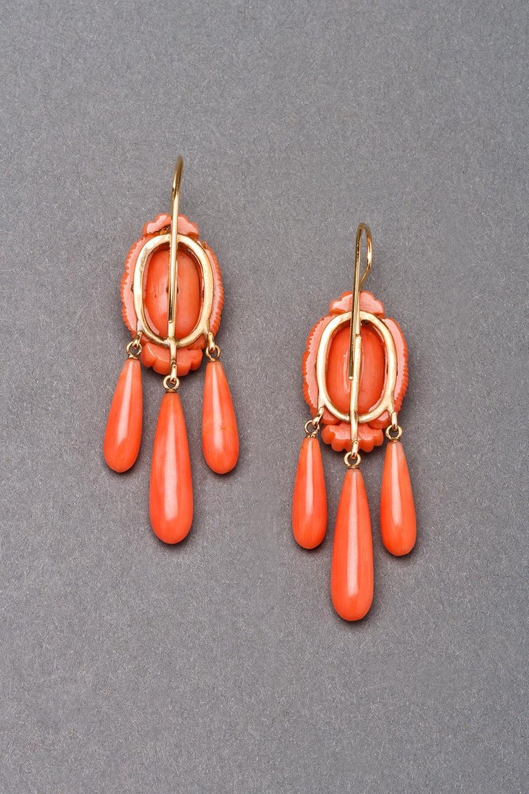 Women's or Men's Victorian Carved Coral Earrings, circa 1870 For Sale