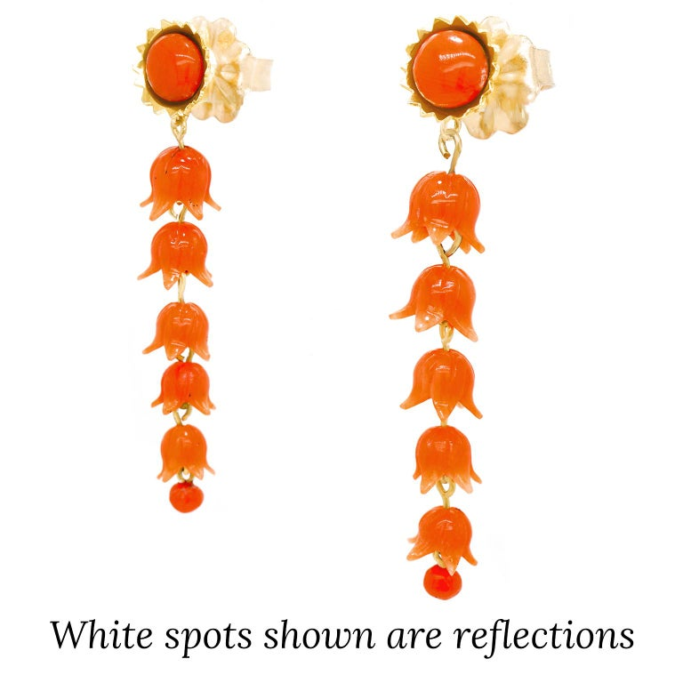 Cabochon Victorian Carved Coral Floral Earrings For Sale