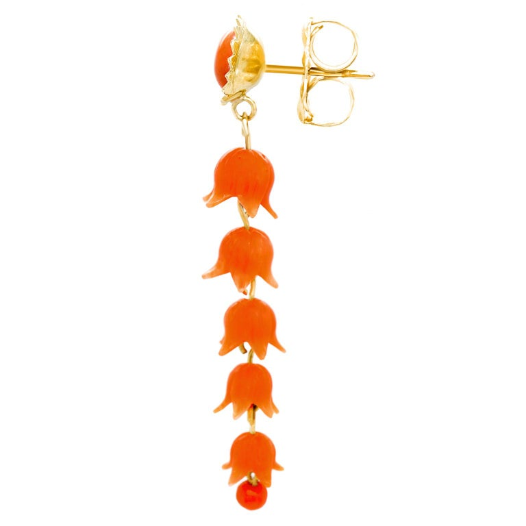 Victorian Carved Coral Floral Earrings For Sale 1
