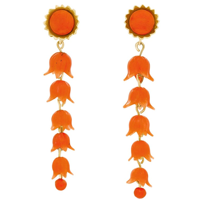 Victorian Carved Coral Floral Earrings For Sale