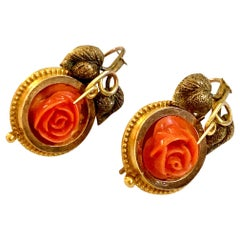 Victorian Carved Coral Roses Shepherds Hook Pierced 14 Karat Gold Drop Earrings
