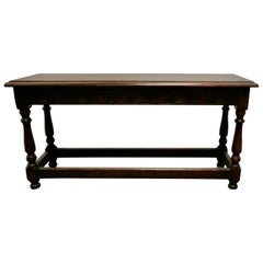 Victorian Carved Country Oak Joint Style Window Seat, Long Hall Bench