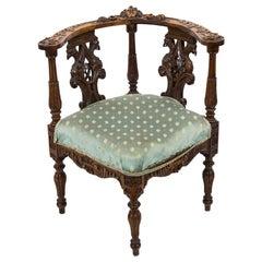Victorian Carved English Walnut Corner Chair