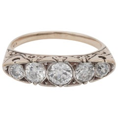 Victorian Carved Hoop 1.25 Carat Five-Stone Ring