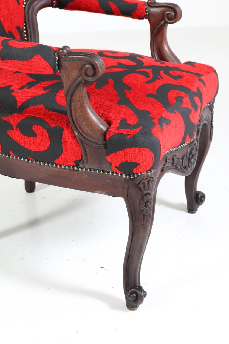 Victorian Carved Mahogany Armchair or Voltaire Chair, circa 1870 For Sale 4