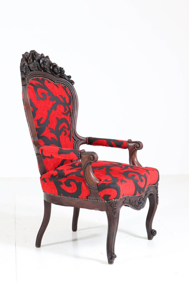 Dutch Victorian Carved Mahogany Armchair or Voltaire Chair, circa 1870 For Sale