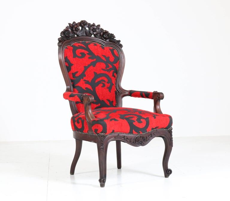 Victorian Carved Mahogany Armchair or Voltaire Chair, circa 1870 In Good Condition For Sale In Amsterdam, NL