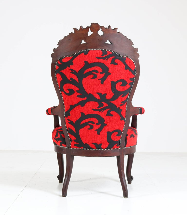 Late 19th Century Victorian Carved Mahogany Armchair or Voltaire Chair, circa 1870 For Sale