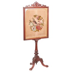 Victorian Carved Mahogany Fire Screen