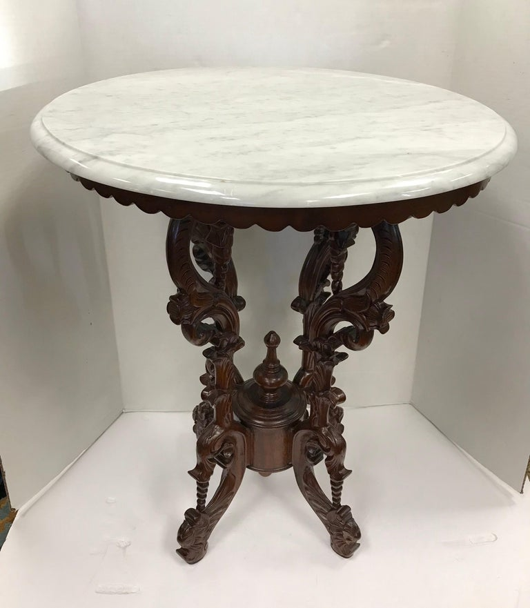 Victorian Carved Mahogany Marble-Top Round Table For Sale 4