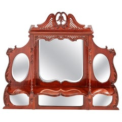 Victorian Carved Mahogany Overmantle Wall Mirror