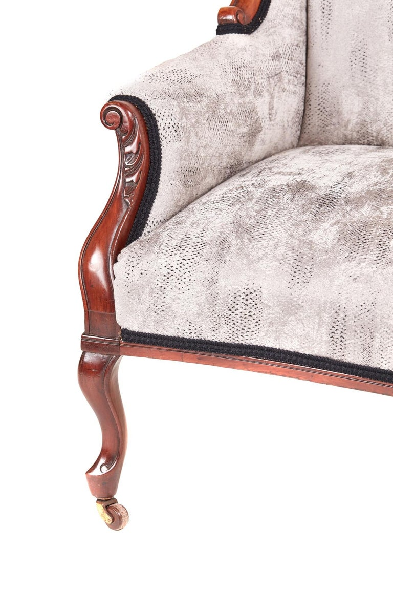 19th Century Victorian Carved Mahogany Settee For Sale