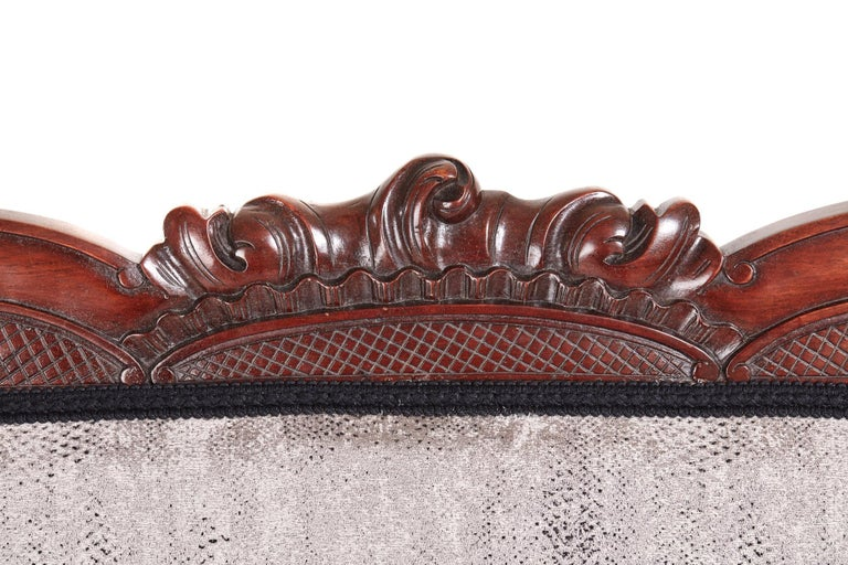 Victorian Carved Mahogany Settee For Sale 2