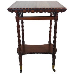 Victorian Carved Mahogany Square Side Table